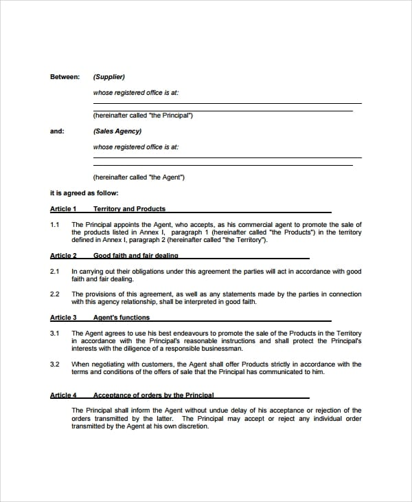 Business Agency Agreement Sample For Business Agency Agreement Template
