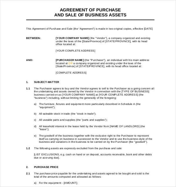 Business Assets Sale Agreements For Business Sale Agreement