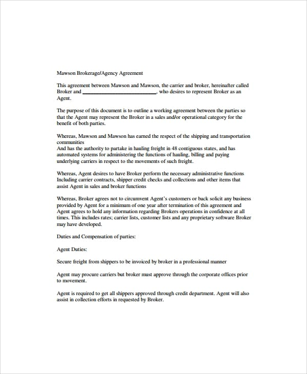 Business Broker Agency Agreement For Business Agency Agreement Template