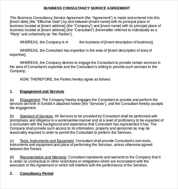 Business Consultancy Service Agreement For Business Service Agreement Template
