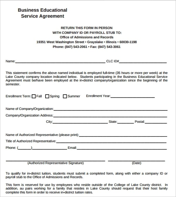 Business Educational Service Agreement For Business Service Agreement Template