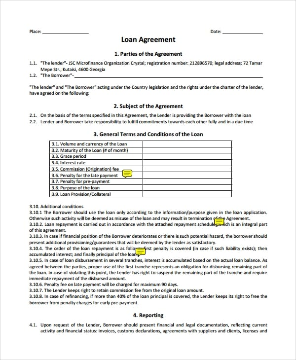 Business Loan Agreement Form For Business Loan Agreement