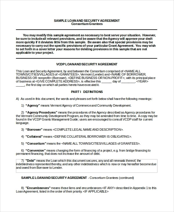 Business Loan Security Agreement For Business Loan Agreement