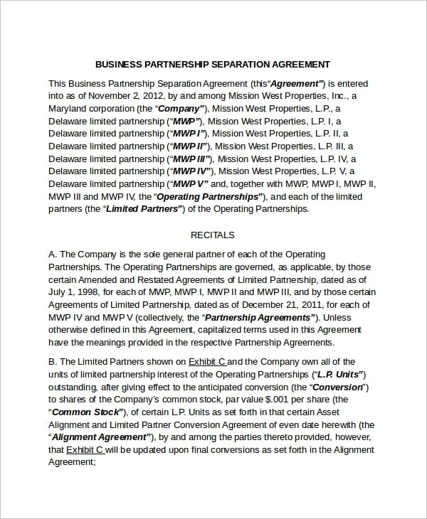 Business Partnership Separation Agreement For Business Separation Agreement Template