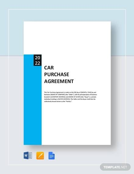 Car Purchase Agreement Template For Sample Apartment Lease Agreements