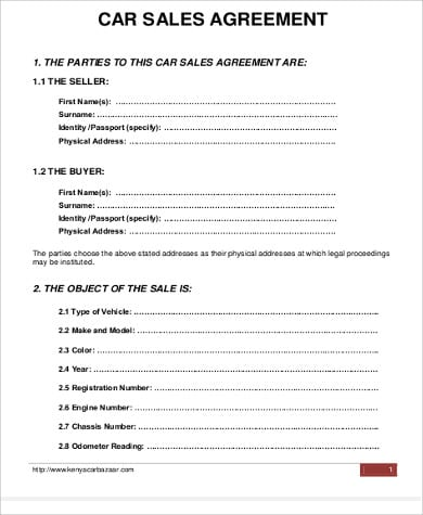 Car Sale Purchase Agreement Format For Sample Apartment Lease Agreements