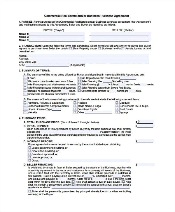 Commercial Business Purchase Agreement For Commercial Purchase Agreement