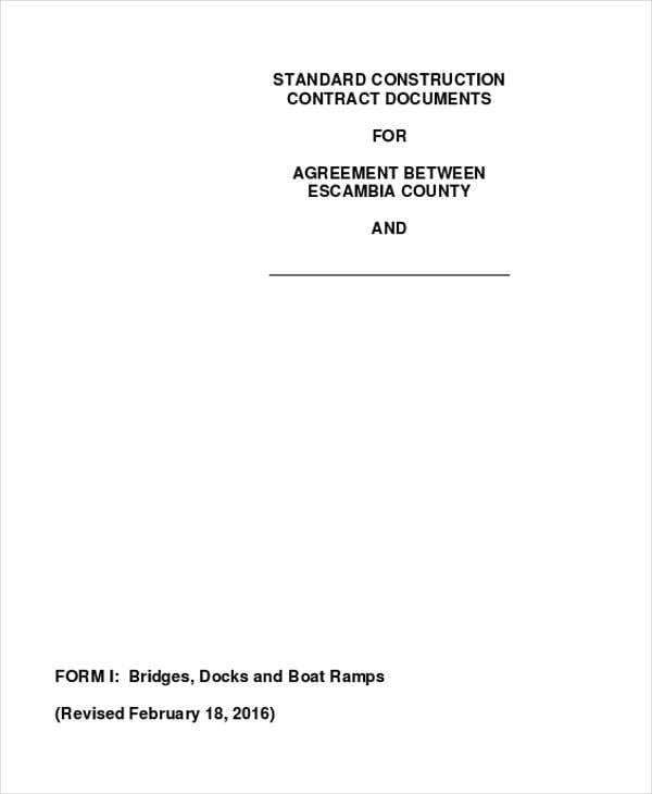 Commercial Construction Agreement PDF For Construction Agreement Forms