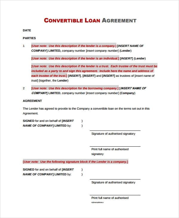 Commercial Convertible Loan Agreement For Commercial Loan Agreement Template