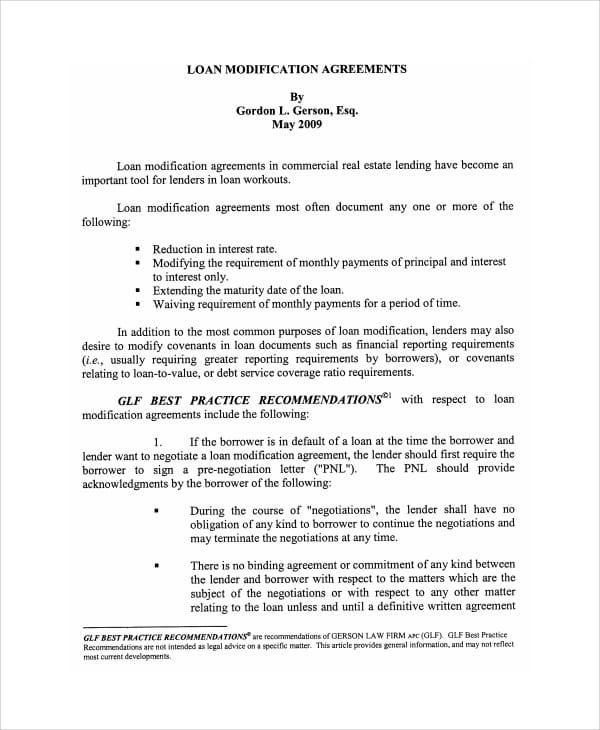 Commercial Loan Modification Agreement Form For Commercial Loan Agreement Template