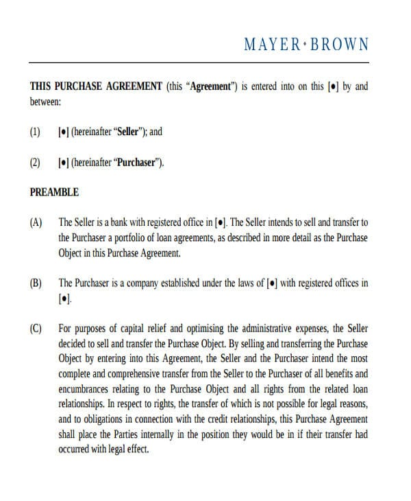 Commercial Loan Purchase Agreement For Commercial Agreement Format