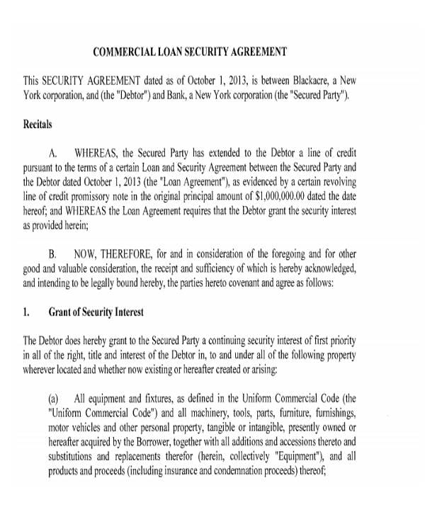 Commercial Loan Security Agreement1 For Commercial Agreement Format