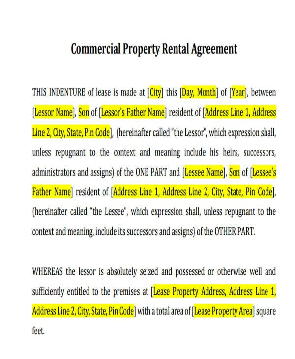 Commercial Property Rental Agreement For Commercial Agreement Format