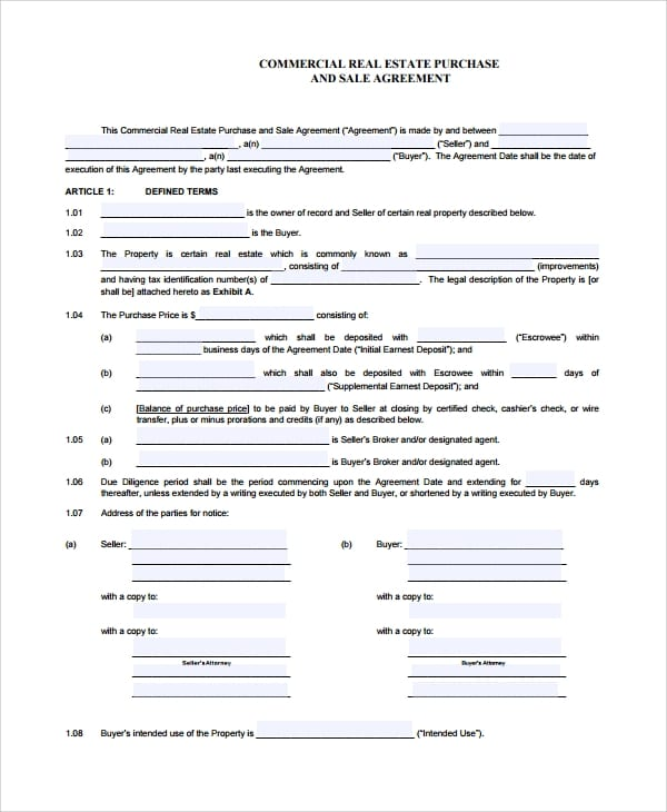 Commercial Purchase And Sale Agreement For Commercial Purchase Agreement
