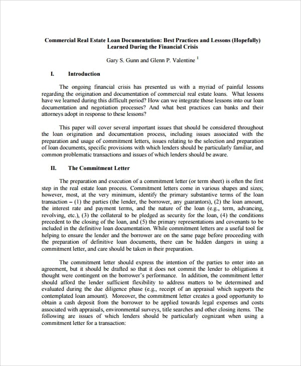 Commercial Real Estate Loan Documentation For Commercial Loan Agreement Template