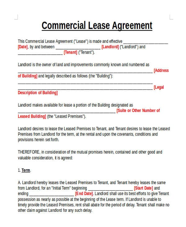 Commercial Rental Lease Agreement For Commercial Agreement Format