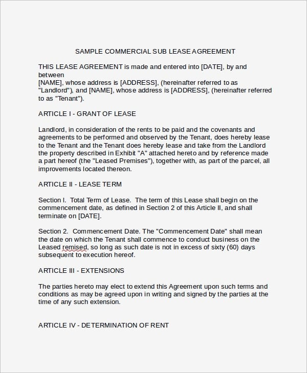 Commercial Sublease Agreement Example For Commercial Sublease Agreement