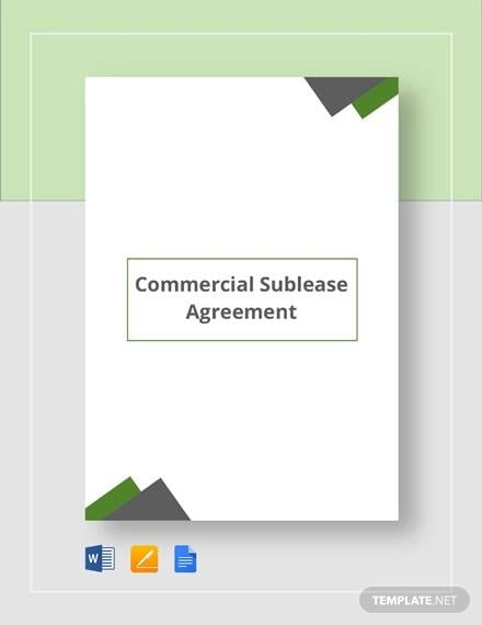 Commercial Sublease Agreement Template For Commercial Agreement Format