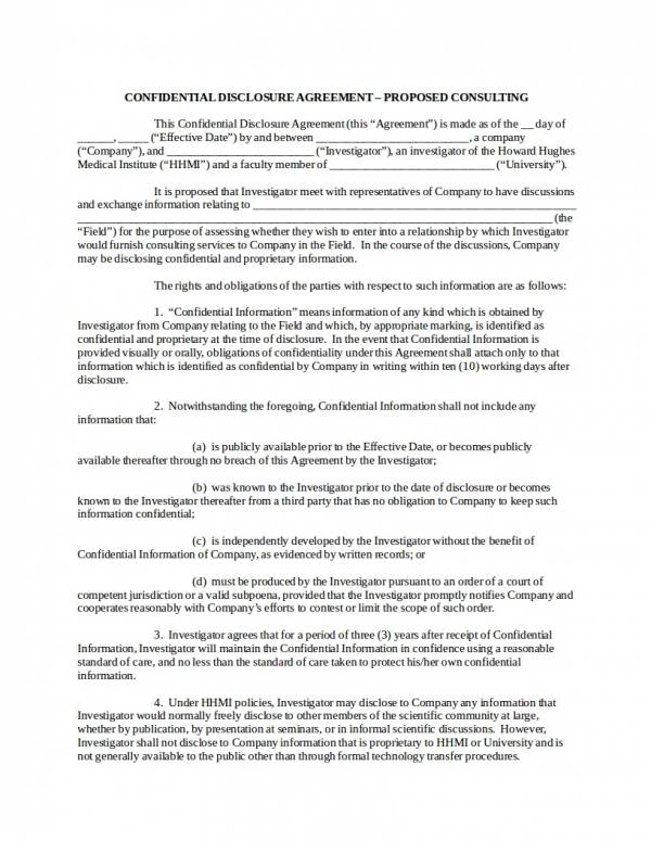 Confidential Disclosure Agreement Proposed Consulting