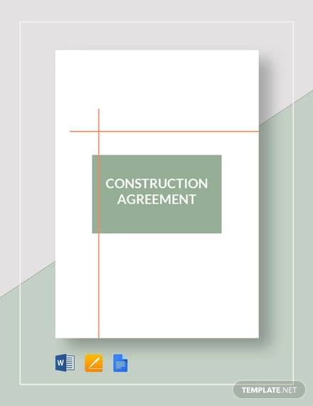 Construction Agreement Template For Construction Agreement Forms