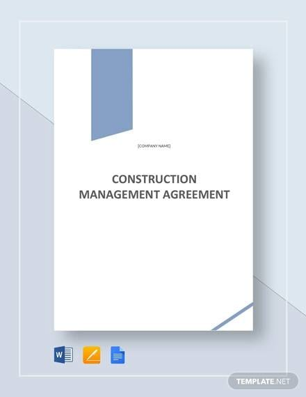 Construction Management Agreement Template For Construction Agreement Forms