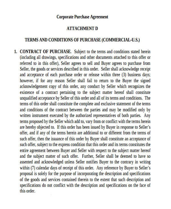 Corporate Commercial Purchase Agreement1 For Commercial Agreement Format