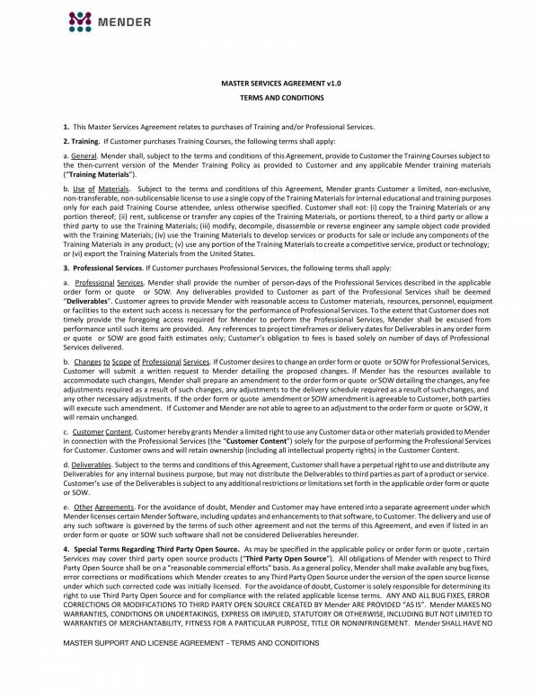 Detailed Master Services Agreement 1 For Master Professional Services Agreement Pdf