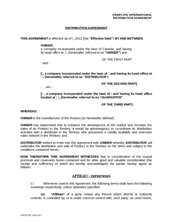 Distribution Agreement Template For Oem Distribution License Agreement