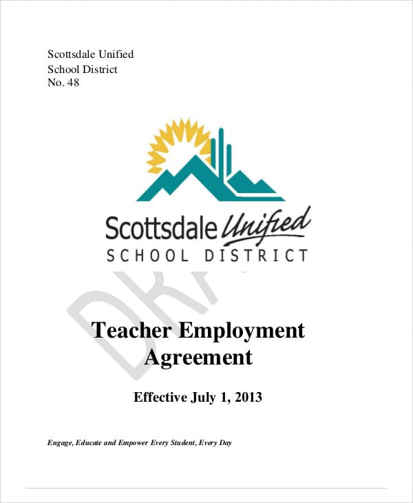 Elementary Teacher Agreement Contract For Teacher Agreement Contract