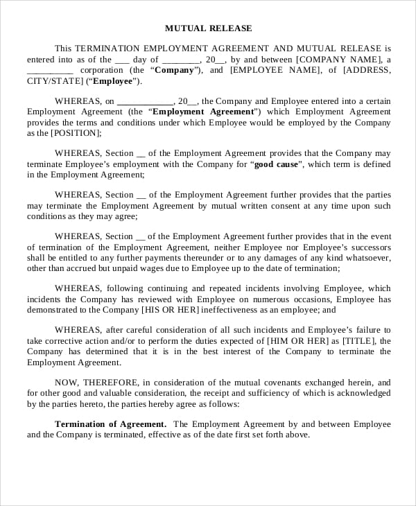 Employment Mutual Release Agreement For Power Purchase Agreements