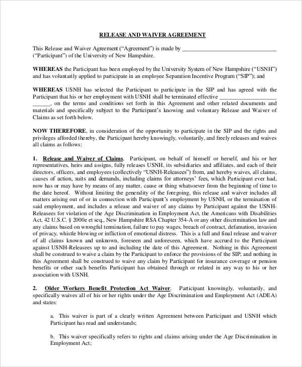 Employment Waiver Release Agreement For Power Purchase Agreements