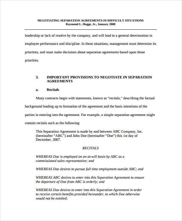 Formal Business Separation Agreement For Business Separation Agreement Template