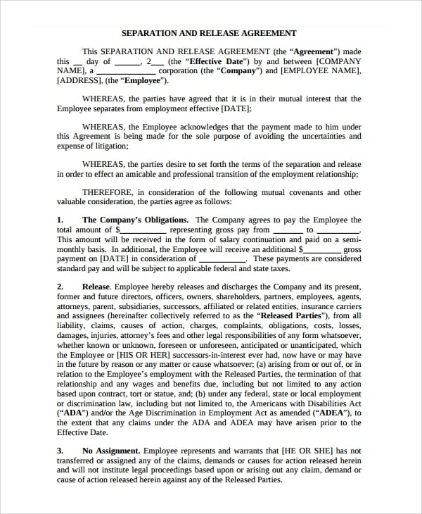 Free Business Separation Agreement1 For Business Separation Agreement Template