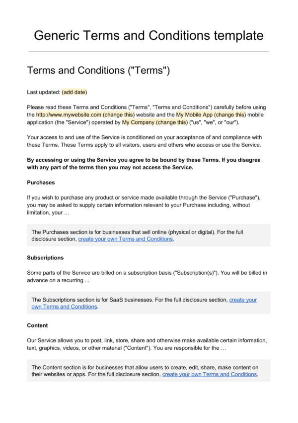 Free Terms And Conditions Template 1 For Service Terms Agreement