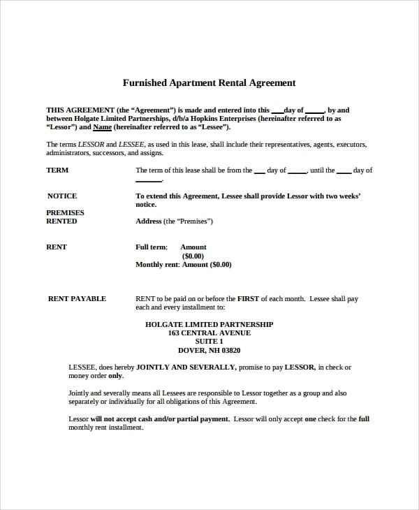 Furnished Apartment Lease Agreement For Apartment Lease Agreements