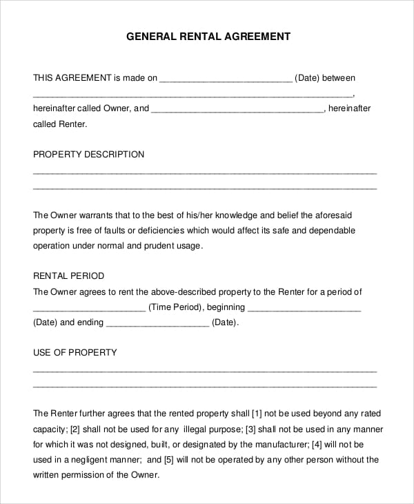General Renters Agreement For Self Employment Agreement