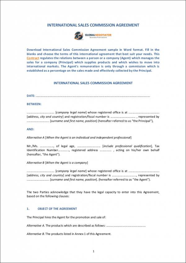 International Sales Commission Agreement Template For Sales Commission Agreement Samples