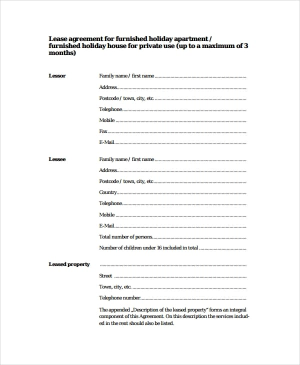 Lease Agreement For Holiday Apartment For Apartment Lease Agreements