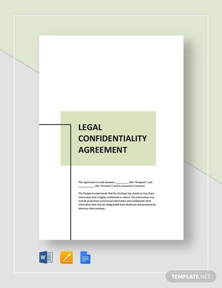 Legal Confidentiality Agreement Template For Legal Confidentiality Agreement