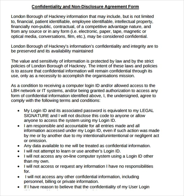 Legal Confidentiality Non Disclosure Agreement Form For Legal Confidentiality Agreement