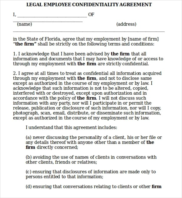 Legal Employee Confidentiality Agreement For Legal Confidentiality Agreement