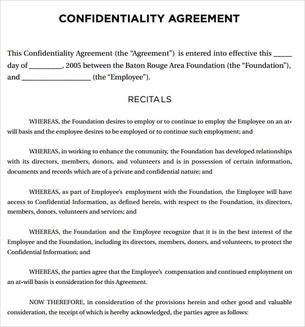 Legal Foundation Confidentiality Agreement For Legal Confidentiality Agreement