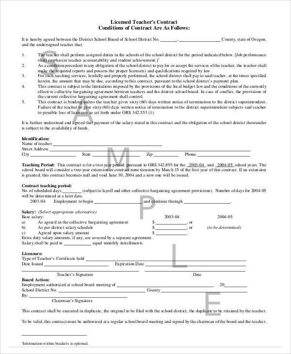 Licensed Teacher Agreement Contract For Teacher Agreement Contract