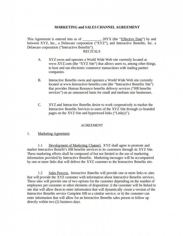 Marketing Services And Sales Agreement Template For Marketing Services Agreement Template Pdf Word