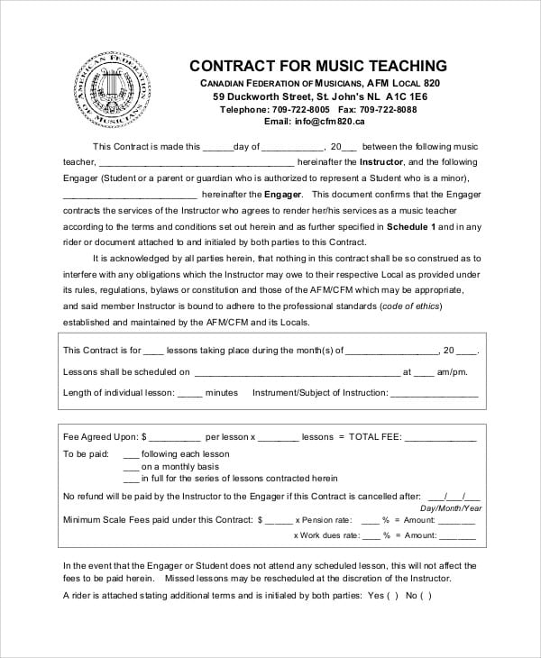 Music Teacher Agreement Contract For Teacher Agreement Contract