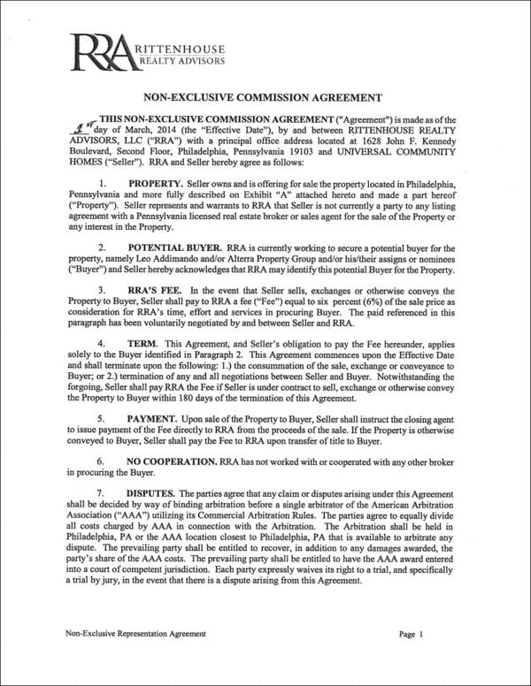 Non Exclusive Commission Agreement Sample For Sales Commission Agreement Samples