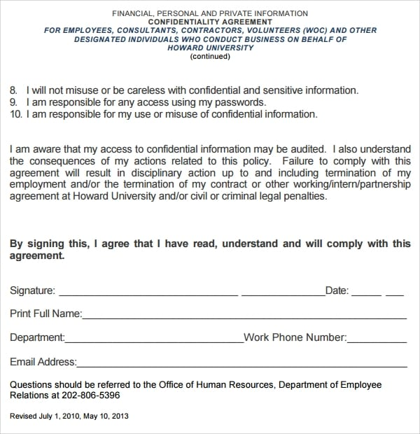 Personal Volunteer Confidentiality Agreement Template For Volunteer Confidentiality Agreement