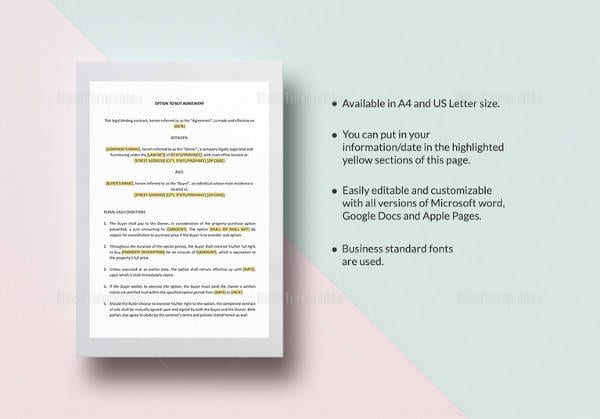 Printable Option To Buy Agreement Template For Sample Apartment Lease Agreements