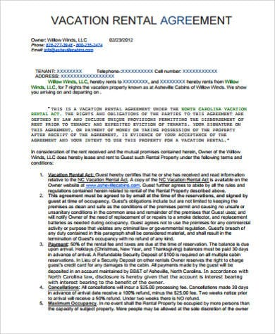 Printable Vacation Rental Agreement1 for Standard Lease Agreements