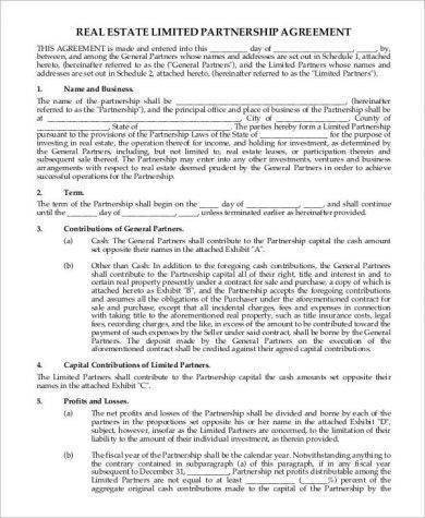 Real Estate Limited Partnership Agreement For Real Estate Partnership Agreement Templates Pdf